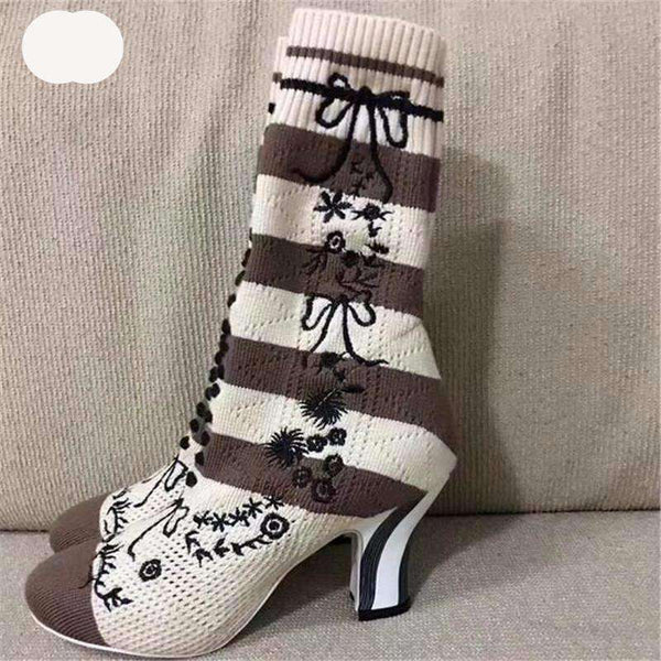 GGotta's New Knit Ankle Boots Round Toe Flower Embroidery booties