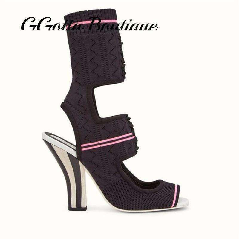 GGotta's Striped Stretch Knitted Ankle Boots Open Toe Embroidery Chunky High heels