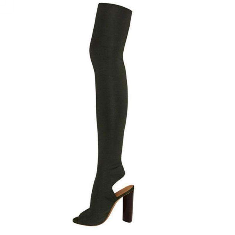 GGotta's peep toe thigh high boots