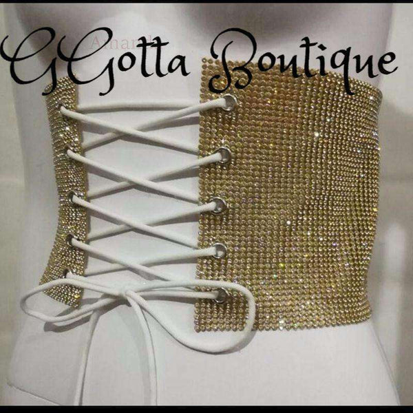 GGotta's silver or Gold Corset sexy gold silver Rhinestoned women belt