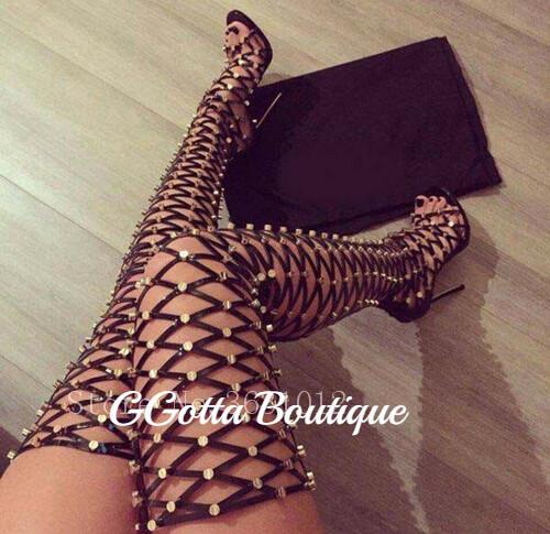 GGotta's Amber Cage Cut-Outs Thigh High/Heel Boots**