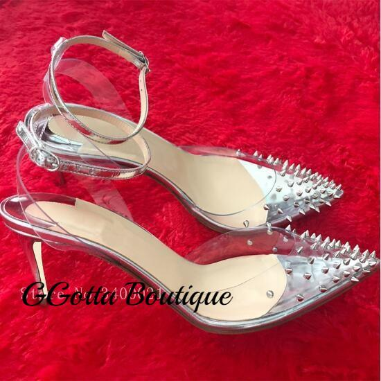 GGotta's Andrea Clear Studed Stiletto Thin High Heel Pumps**