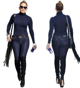 GGotta's Two Piece Set Jeans JumpsuitLong Sleeve Tops And Denim Pants