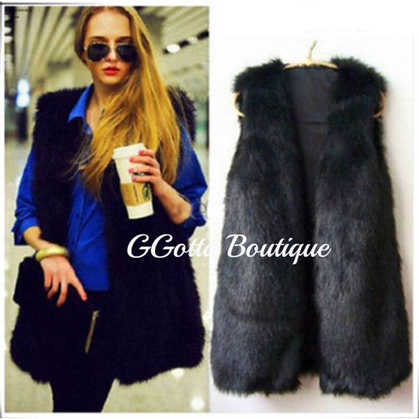GGotta's Angela Faux Fur Vest Waistcoat Sizes S-3XL**