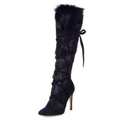 GGotta's Fur Embellished Cross Tied Boots