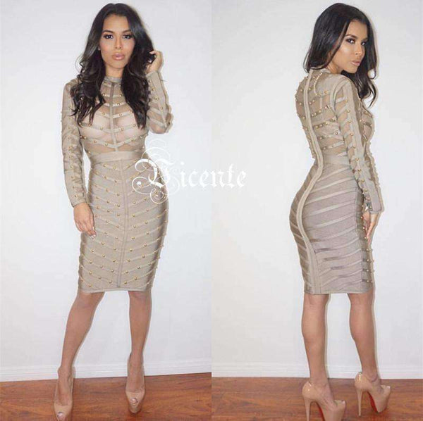 GGotta's HOTTEST!! Free Shipping Sheer Mesh Embelished bandage dress