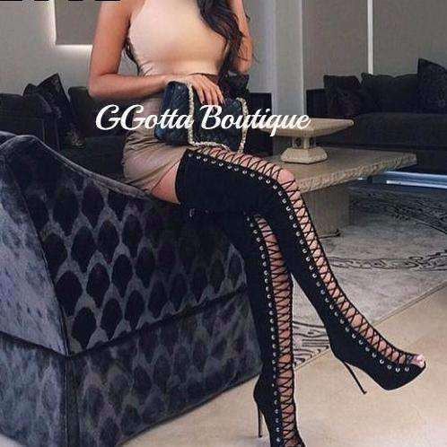 GGotta's Thigh High Boots Lace Up Over-The-Knee Boots