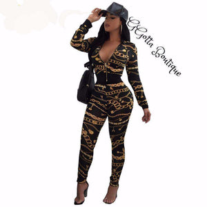 GGotta's Aisha Casual Two Pieces Pattern Chained look