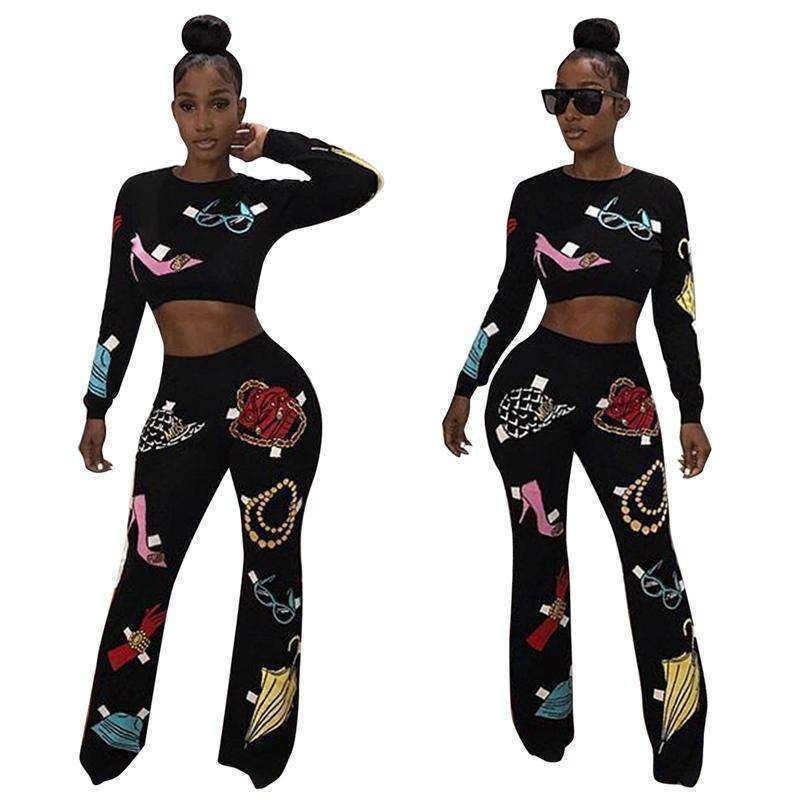 GGotta's Kelly Casual O-Neck Crop Top and Flare Pants Sets