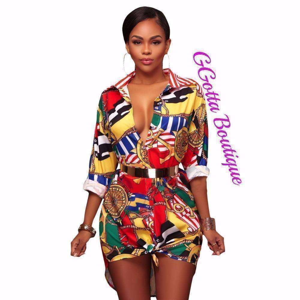 GGotta's Sexy Print dress Blouse