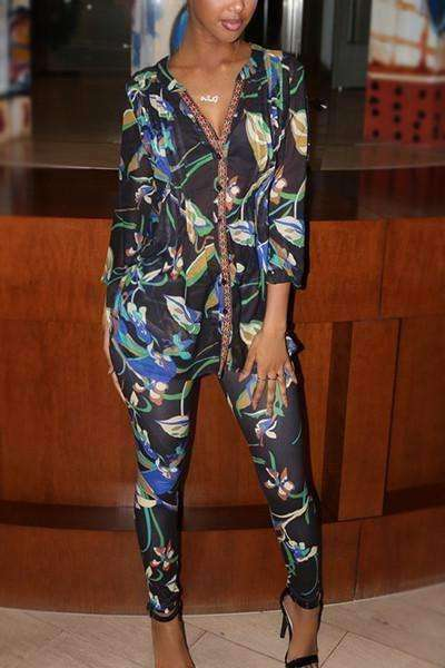 GGotta Mary J Multi Colored Chiffon Pants Print Button up Long Sleeve Sexy Two Pieces
