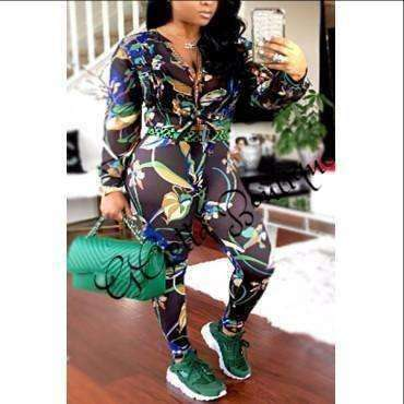 This is a two piece silk button up printed jogger suit