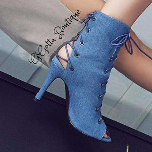 GGotta's Denim Cloth Peep Toe Lace up Short Boots