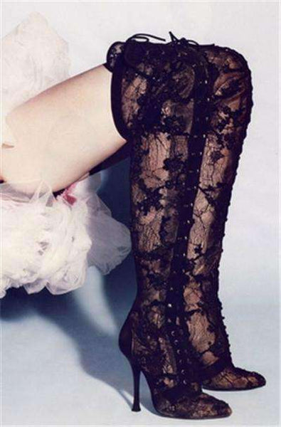 GGotta's Sexy Black Lace Open Toe Cross Tied Thigh High Boots