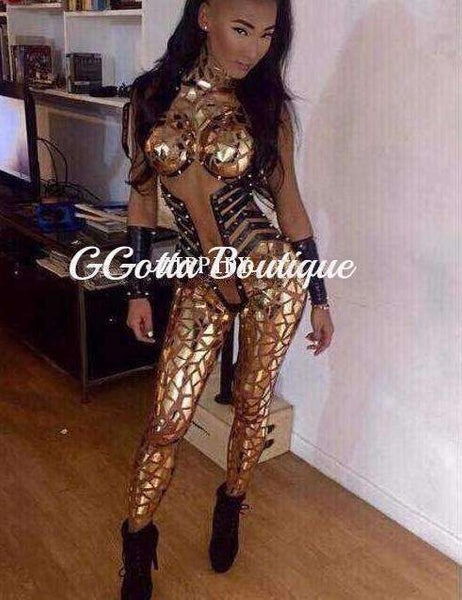 GGotta's Sexy Gold Sequins Jumpsuit Bodysuit Costume One-piece