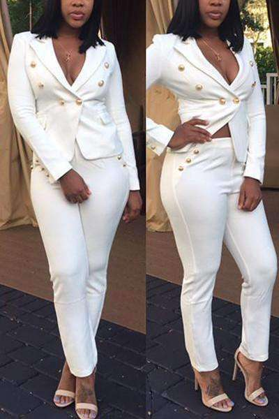 Trendy Blazer Suit V Neck Long Sleeves Button Decoration White Polyester Two-Piece Pants Set