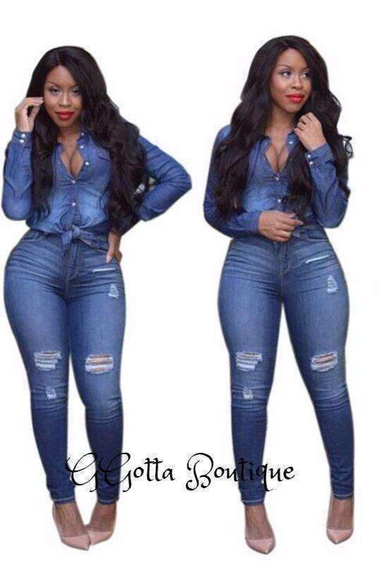 Women Casual Jeans-Suit Set