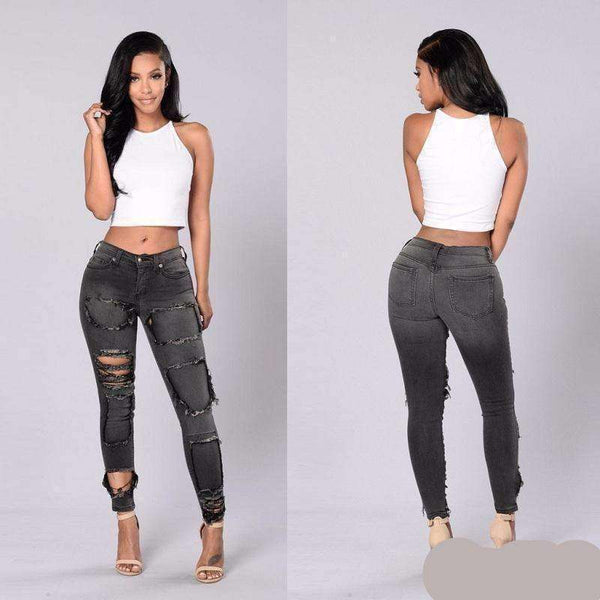 Denim  Jeans Womens Bleach Ripped Knee Skinny Jeans