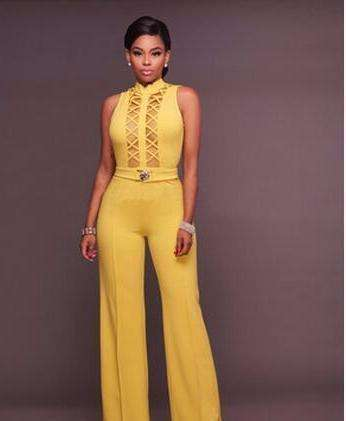 Ladies Evening Party Long Jumpsuit Sexy Backless Lace Wide Leg Bodysuits