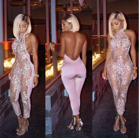 New Fashion Sparkly Perspective catsuit Pink Sexy Flashing Outfit Shining bodysuit