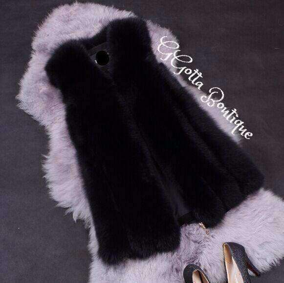 GGotta's  Fur Vest Women Medium Long Vest