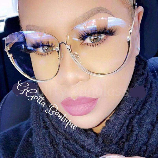 GGotta Boutique Transparent Gold Frame Rimless  Glasses Women Clear Shades