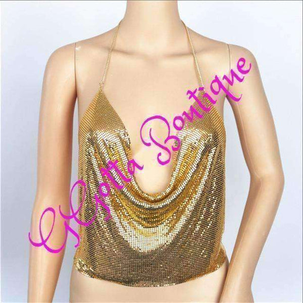 GGotta's  Arianna  Sexy Metal Sequin Crop Tops Sexy Backless Gold Clubwear