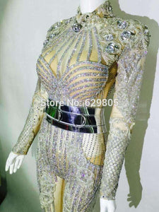 Glisten Silver Rhinestones Jumpsuit Flashing Belt rompers