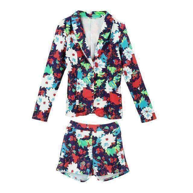 GGotta Boutique Two Piece Set Floral Print Long Sleeve Casual Blazer