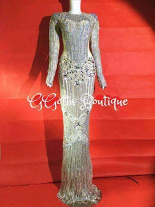 GGotta Boutique Luxury Glisten Silver Rhinestones Dress Flashing Sexy Stage Wear Long Dresses