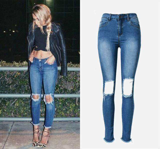 Pop Ripped Jeans Women High Waist Hole Tassel Skinny Jeans