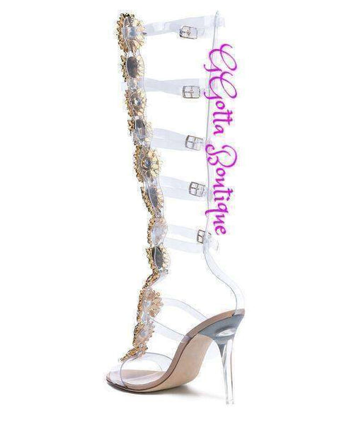 GGotta Boutique Open Toe Cut Out Woman Rhineston Gladiator Boot