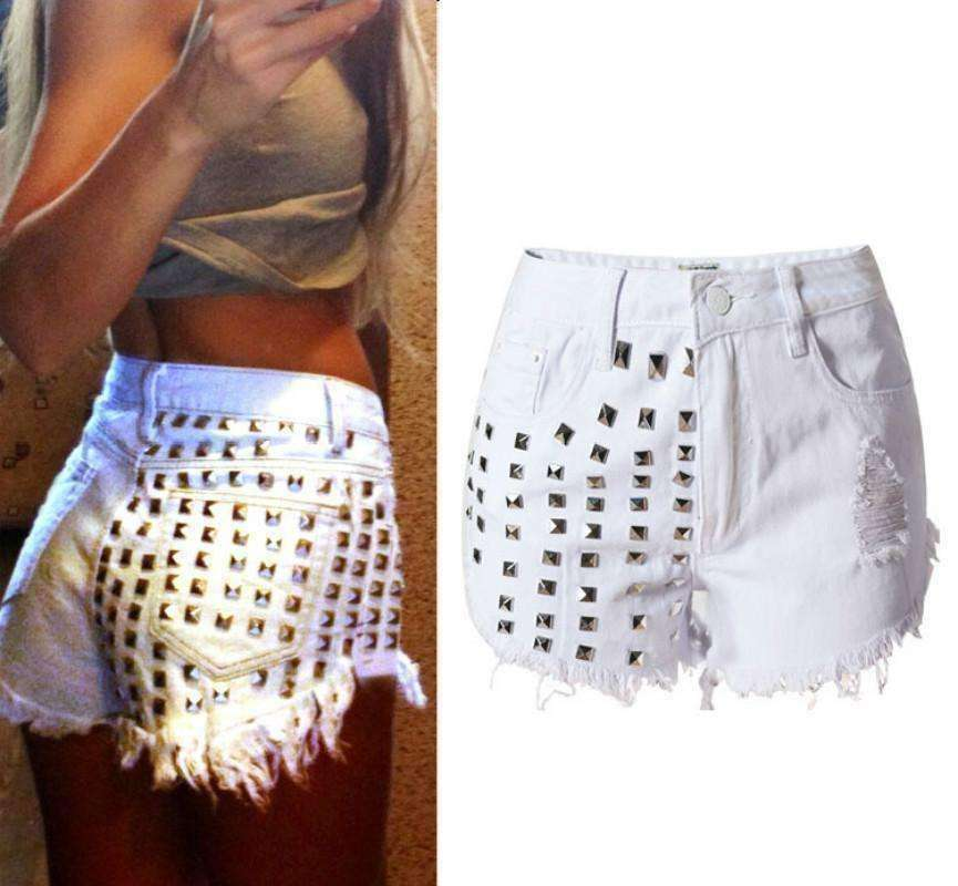 GGotta Boutique New High Waist White Denim Shorts