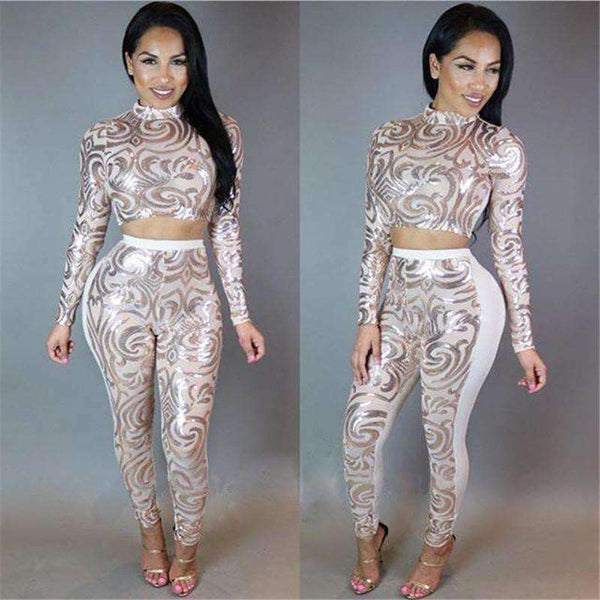 sequins bodysuit see-through sexy Jumpsuits 2 piece sets