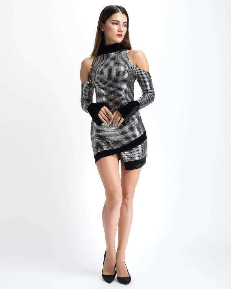 GGotta's Silver Metallic Party Dress