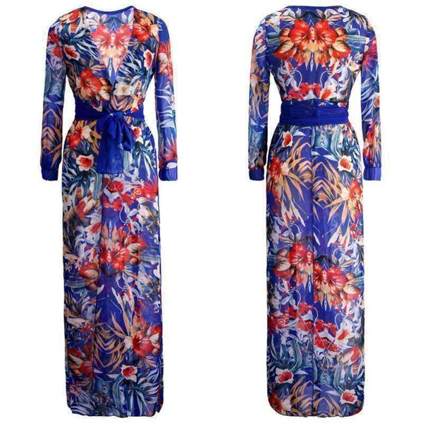 GGotta's  Long Maxi Chiffon Floral Strand robe cover up