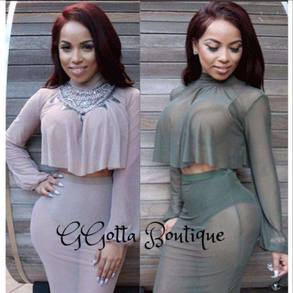 GGotta Boutique Sexy Two pieces sets dress new summer transparent mesh