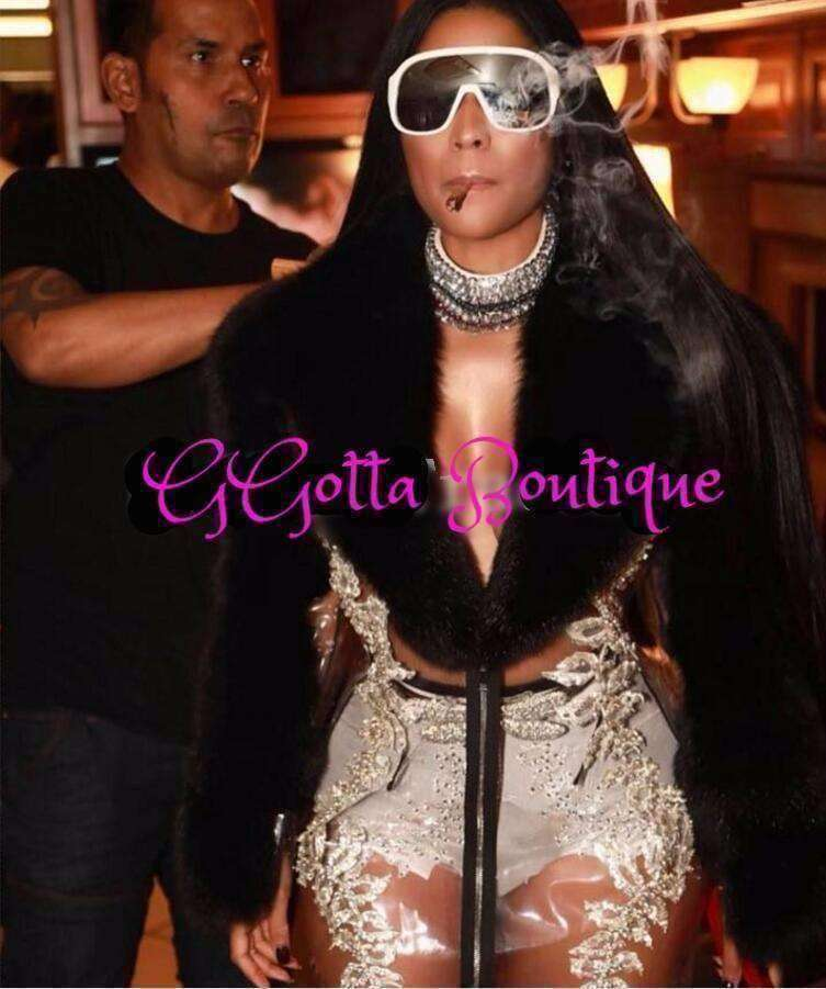 GGotta's Black Fur Transparent sparkly Crystal Long Jacket