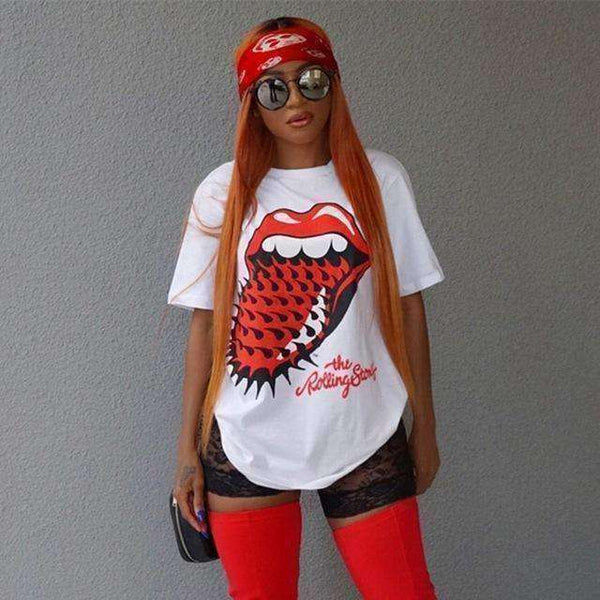 GGotta's casual t-shirt red lip print o neck long tee