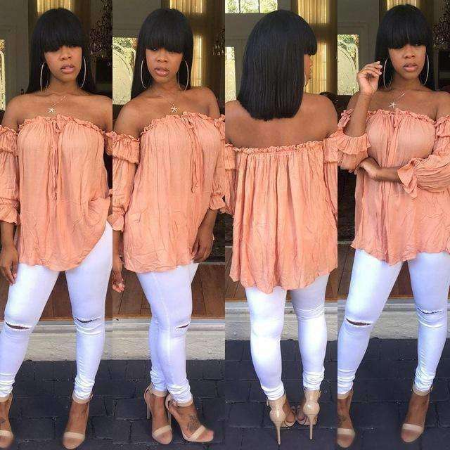 GGotta's high quality peachy off the shoulder blouse