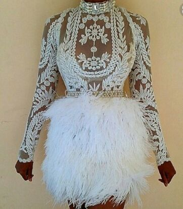GGotta's Crisha Feathered Lace Mini Dress