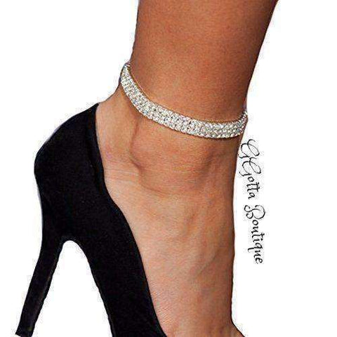 GGotta's 3-Row Three Row Sparkly Crystal  Tennis Ankle Chain Sexy Anklet