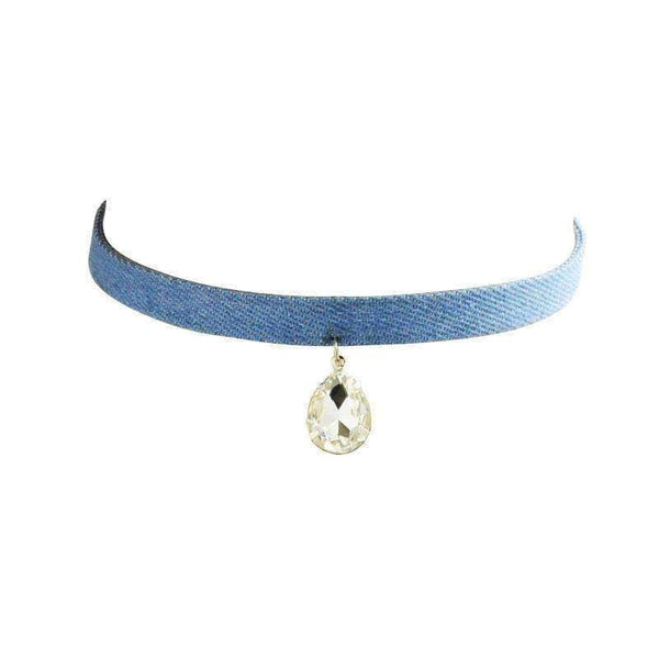 GGotta's Denim canvas crystal pendant choker necklace