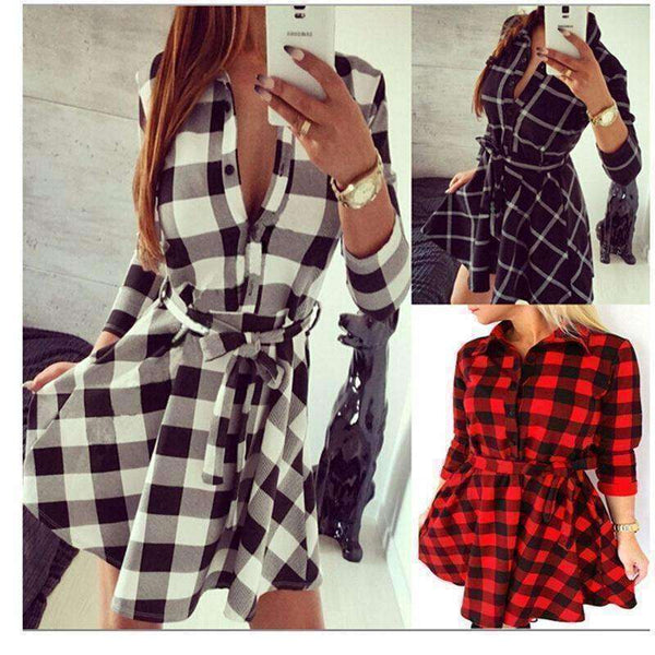 Womens Fashion Casual Dresses  Peplum Plaid Dresses
