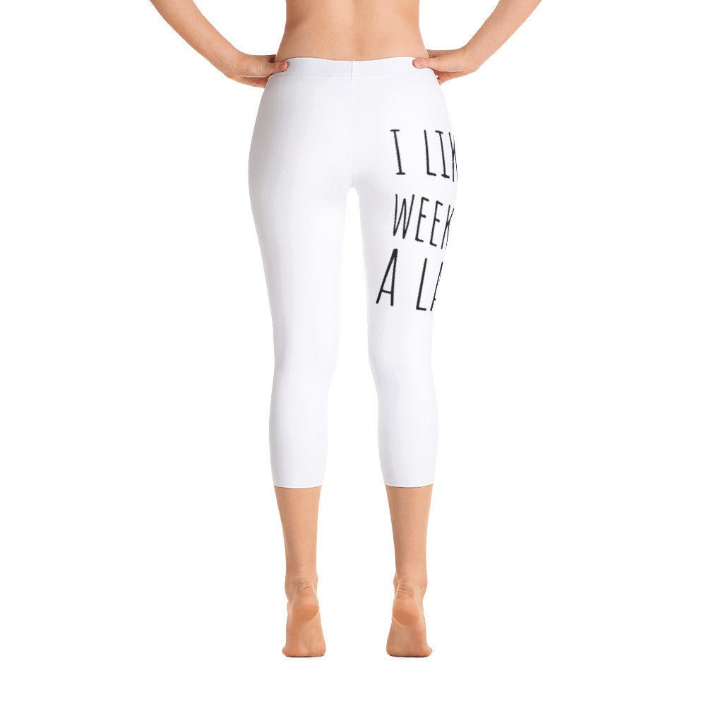 I Like Weekends A Latte Coffee: White Ladies Capri Tight Leggings