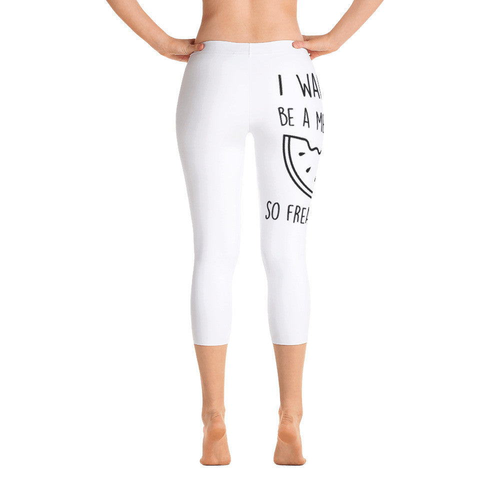 I Want To Be A Melonaire So Freakin' Bad: White Ladies Capri Tight Leggings