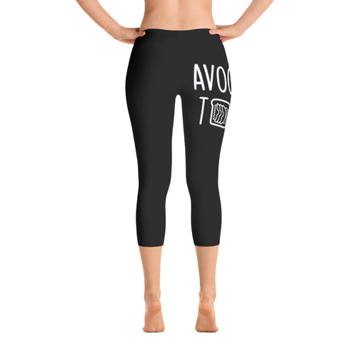 Avocado Toast: Black Ladies Tight Capri Leggings