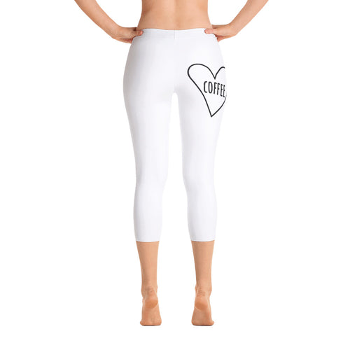 Love Coffee Heart: White Ladies Tight Capri Leggings