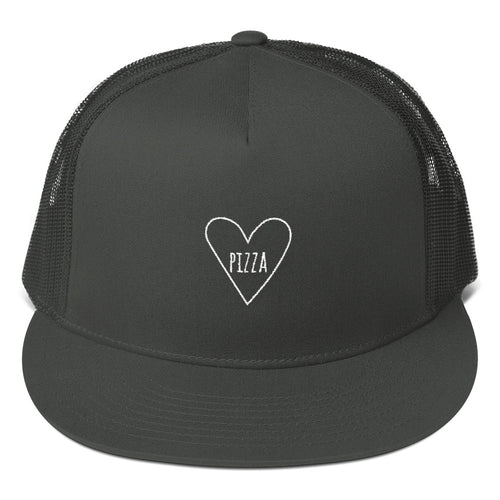 Love Pizza Heart: Mesh Snapback Trucker Cap Hat Black