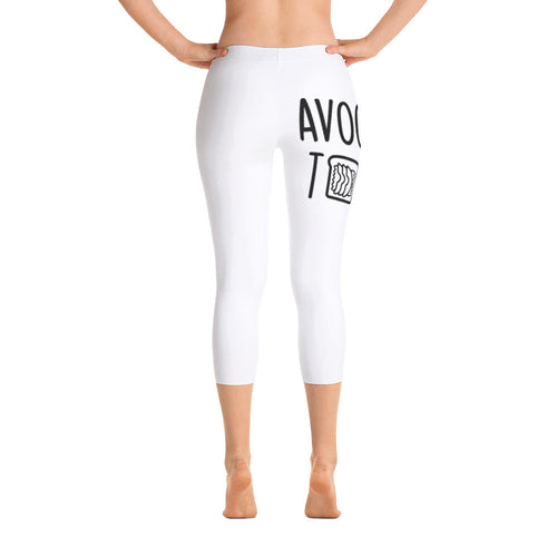 Avocado Toast: White Ladies Tight Capri Leggings